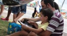 Pais e filhos puderam ler juntos e sem pressa para ir embora