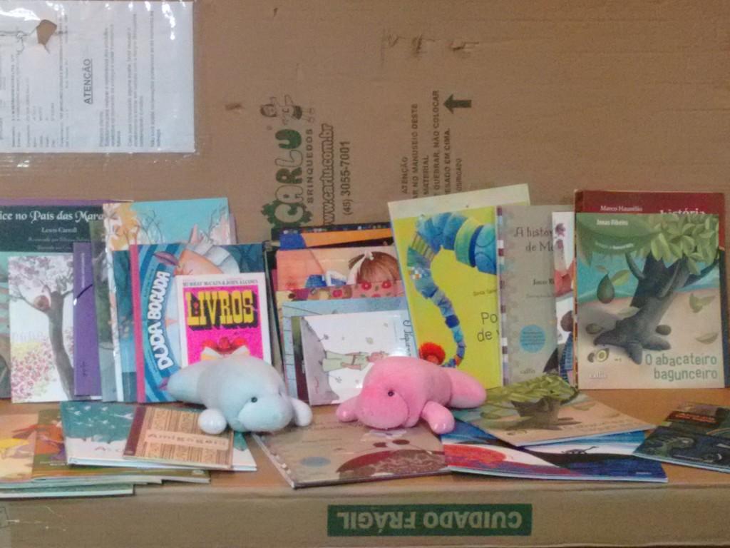 Cantinhos e livros doados pela Rede Ler e Compartilhar ao novo espaço de leitura que funcionará em breve na Associação do Peixe-Boi de Porto de Pedras